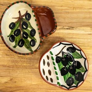 Set of 2 Corval Pottery Olive Dishes Portugal